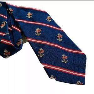 POLO RALPH LAUREN navy nautical stripe silk tie